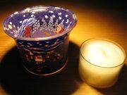 Votivglas Teelichthalter Leuchtglas Weihnachten Schnee