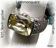 Silberschmuck Edelsteinring Lemmonquarzring