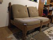 massiver rustikaler Sofa und Sessel