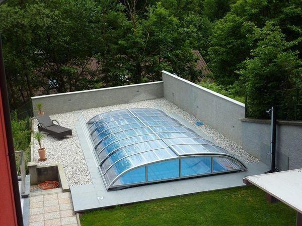 Pool Mit Dach gfk pool Überdachung 7 abdeckung pool dach schiebehalle in radomsko