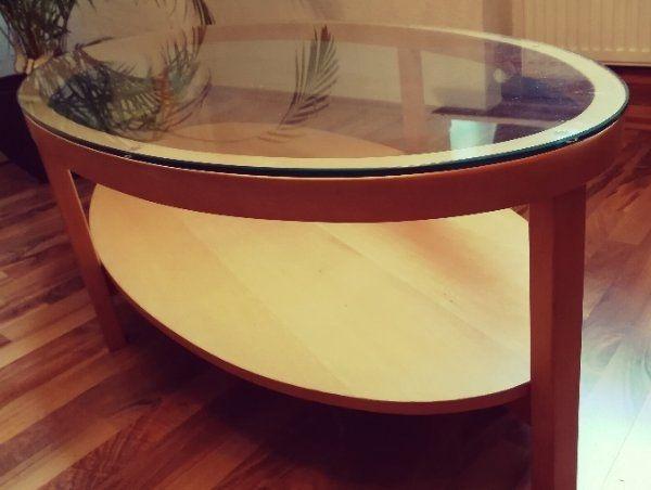 Couchtisch Wohnzimmer Glas Oval Holz Birke Design Unikat Ikea In