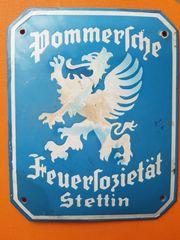 Emailleschild Pommersche Feuersozietät Stettin TOP