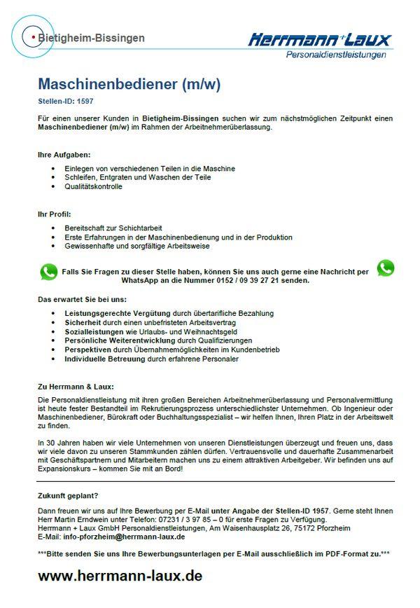 maschinenbediener m w - Bewerbung Als Maschinenfuhrer