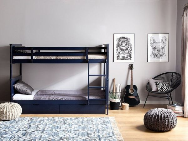 Etagenbett Holz 90x200 : Hochbett holz dunkelblau 90 x 200 cm radon. beliani in berlin