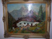 Ölbild Gemälde Bauernhaus in den