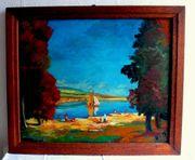 Top altes Gemälde Badespass am