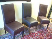 Stuhl Set drei Polsterstühle Leder