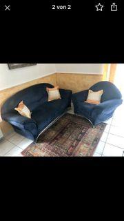 Sofa Blau Stoff Alcantara