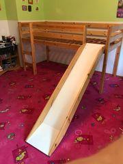 Qualitäts Hochbett mit Rutsche Massivholz