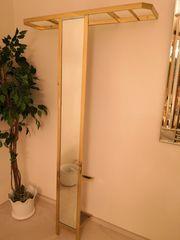 Wandgarderobe Messing Hochglanz mit Spiegel