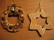 2 Anhänger Weihnachtsbaum Stern und