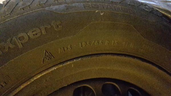 4x Allwetterreifen UNIROYAL auf Stahlfelgen - Lahr - 4x 195/65 R15, Profil 6 mm, für VW Passat. Stahlfelgen-Nr.: 6J 15H2 ET37. - Lahr