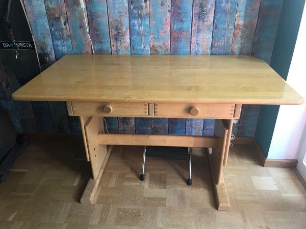 Schreibtisch Verstellbar Massivholz Vollholz Von Gremmler Das