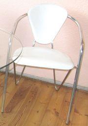 2 Designer Chrom Stühle weißes