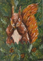 Eichhörnchen Originalgemälde Acrylbild 50cm x