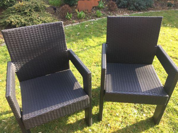 2 Er Set Gartenstühle Schwarz Luxus