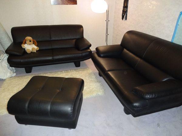 Couch Schwarz Leder 2x Handgefertigt Segmueller Alle Teile