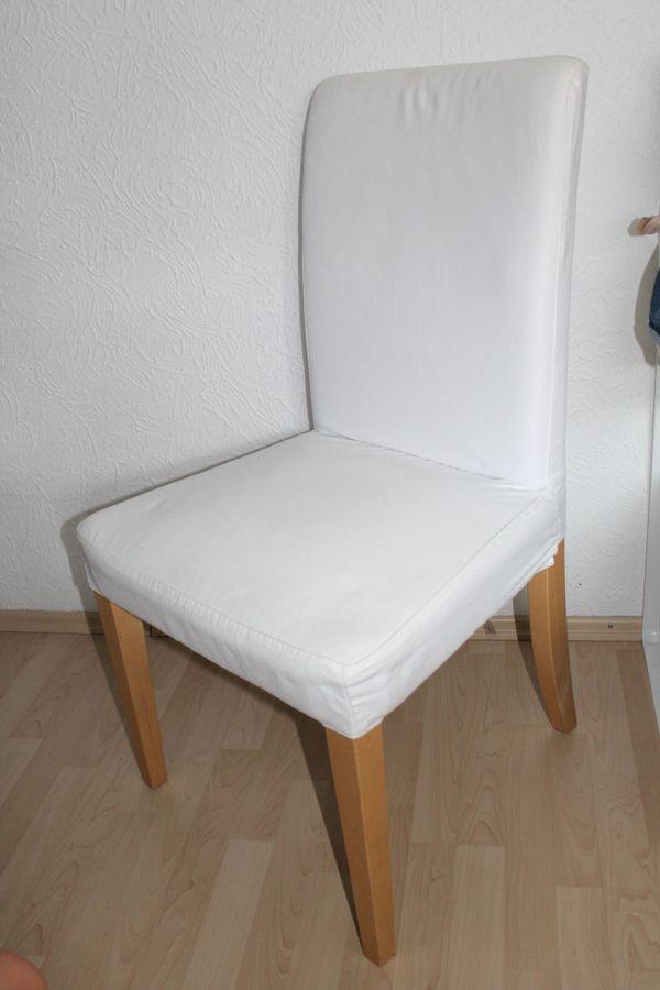Sechs IKEA HENRIKSDAL Stühle, Birke / weiß plus Bezüge - Ettlingen - 6 x moderne Esszimmerstühle von IKEA. Stuhlbeine sind in Birke und die Bezüge sind weiß. Zusätzlich gibt es zu diesem Angebot 5 x neue Stuhlbezüge in weiß dazu.Artikelnummer: 291.842.73Stuhlbeine aus Massivholz, einem strapazierfähigen  - Ettlingen