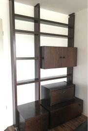 Wohnwand TV-Möbel dunkelbraun flexible Breite