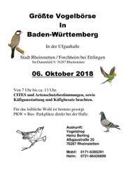 Vogelbörse Rheinstetten 06 Okt 2018