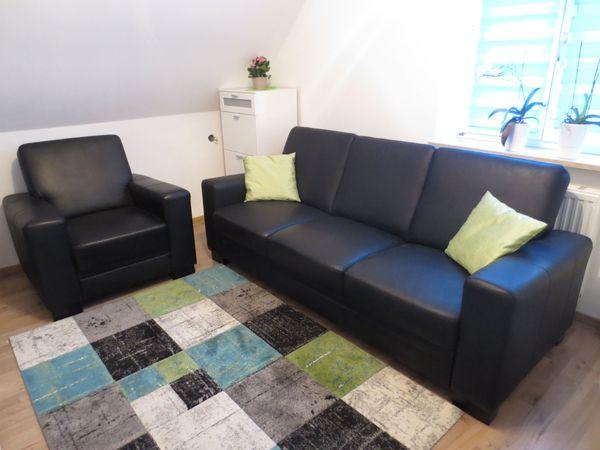 Wohnzimmer Sofa 3-Sitzer + 1 Sessel Schwarz Leder in Ichenhausen ...