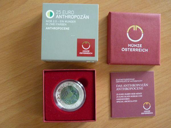 Anthropozän Silber Niob Münze 25 Euro 2018 Münze österreich
