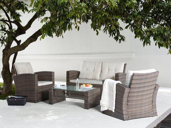 Lounge Set Rattan Braun 4 Sitzer