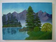 Öl-Gemälde Bergsee auf Keilrahmen Signiert